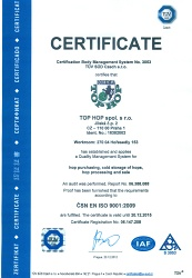 TOP HOP Ltd. successfully certified